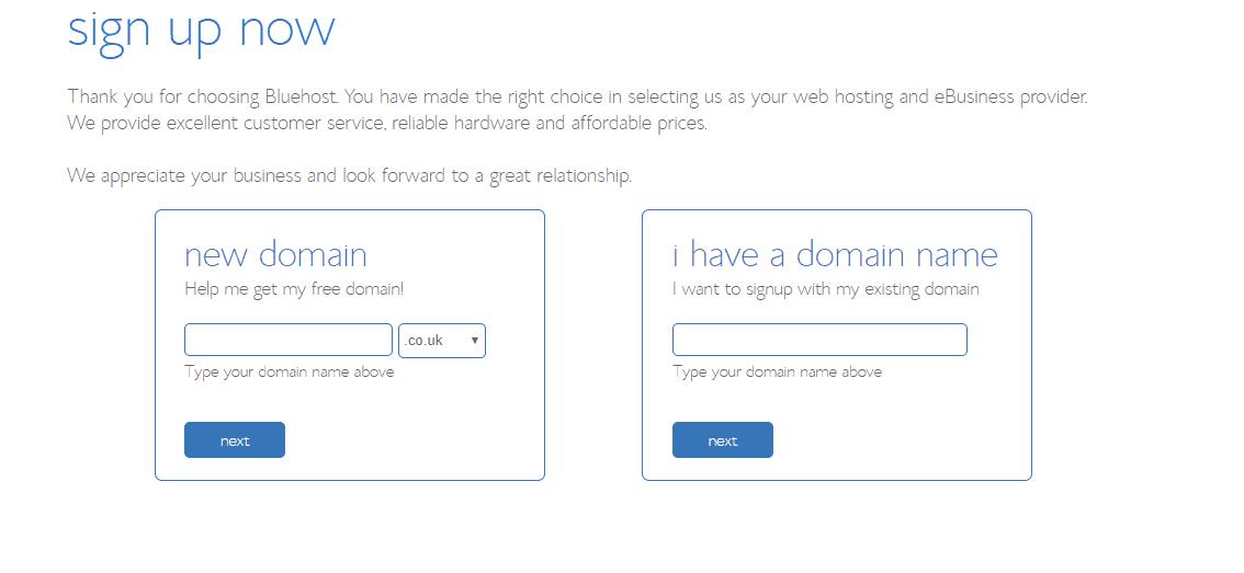 BlueHost Choose URL