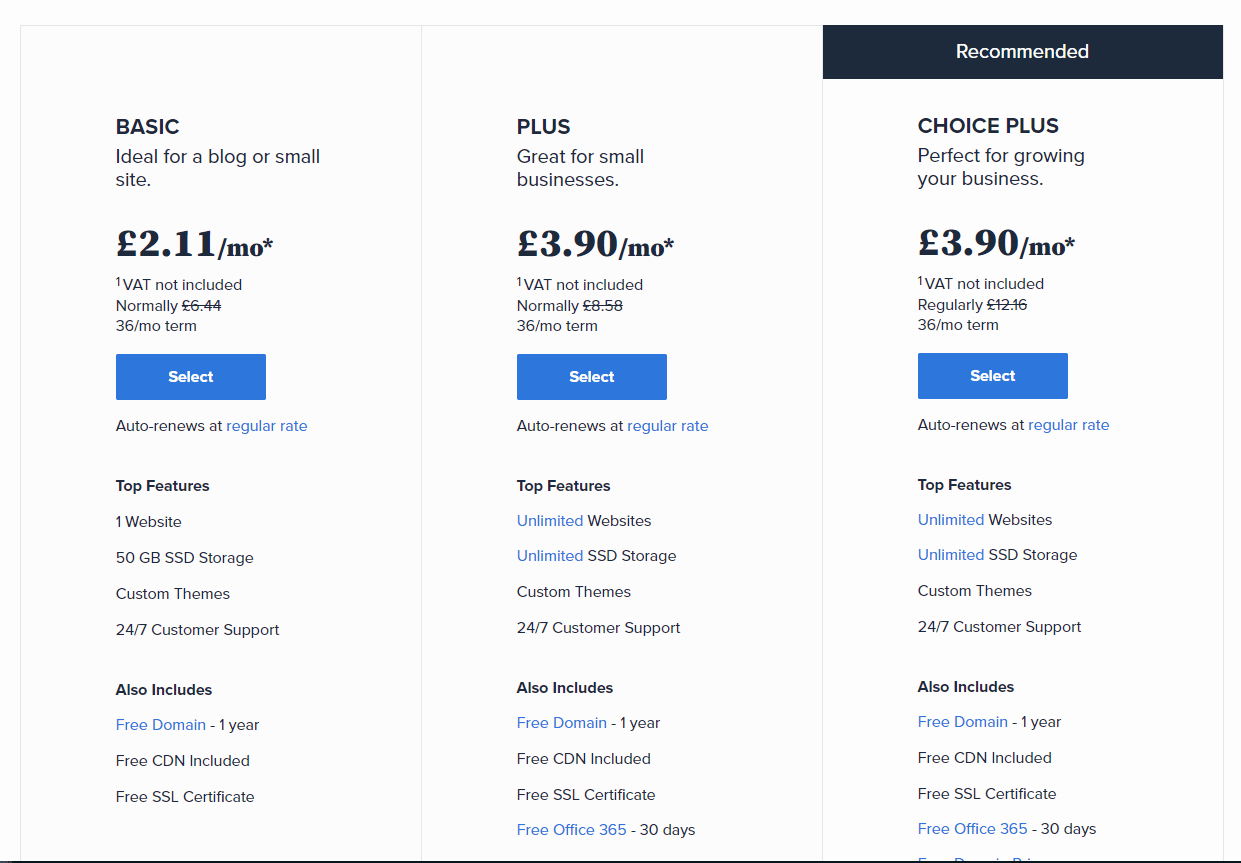 BlueHost Pricing Structure